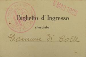 1923 biglietto omaggio rilasciato al Comune in occasione dell'inaugurazione del campo sportivo