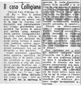 1947 04 13 Corriere d Sport Colligiana esclusa dall campionato 1