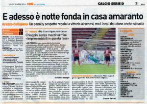 2014 04 28 La Nazione Arezzo Colligiana
