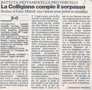 1993 11 22 La Nazione Colligiana Pro Vercelli 2 a 0