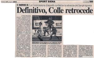 2002 06 21 LaNazione definitivo Colle retrocede