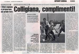 2006 11 28 LaNazione complimenti Colligiana