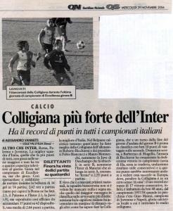 2006 11 29 LaNazione Colligiana più forte dell'Inter