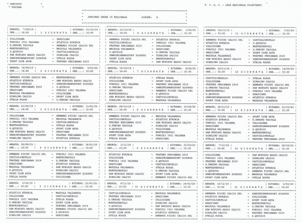 Calendario Juniores Regionali.Calendario E Classifica Jr Colligiana Calcio